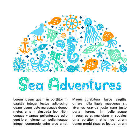 Cutout marine style kids design element paper flyer card. Lettering title Sea Adventures. Vector funny cartoon doodle background of fish, shell, calmar, starfish, jellyfish, gull, octopus