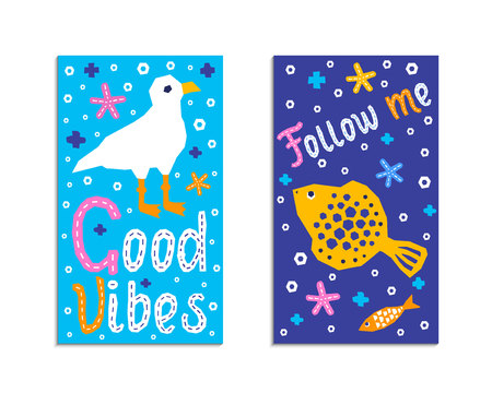 Cutout marine style sea animal kids design element paper flyer card. Lettering popular title follow me, good vibes. Vector funny cartoon fish, gull doodle background. Child ocean graphic poster 向量圖像