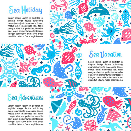 Cutout marine style kids design element paper flyers. Lettering titles Sea Holiday, Vacation, Adventures. Vector funny cartoon doodle background of fish, shell, calmar, starfish, crab, dolphin, gull