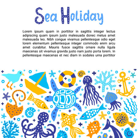 Holiday Lettering Print Design Lettering Title. Vector funny cartoon doodle background of fish, octopus, gull, shell, calmar, starfish, jellyfish, guitar fish. Illustration