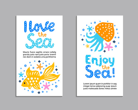 Cutout marine style kids design element paper flyer card. Lettering title I love, Enjoy the Sea. Vector funny cartoon fish, jellyfish doodle background. Child graphic posters