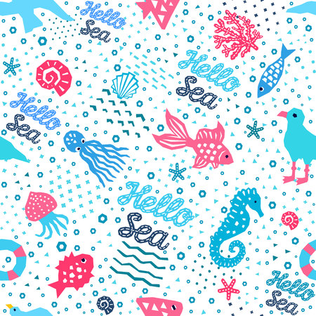 Sea world seamless pattern of paper cutout marine style memphis design elements. Endless funny cartoon background for kids cloth textile print, childish wallpaper, wrapping.
