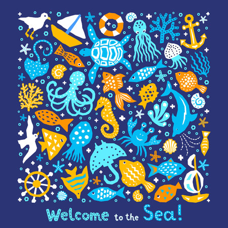 Paper cutout marine style kids design element set. Welcome to the Sea lettering phrase. Funny cartoon doodle fish, octopus, gull, shell, calmar, starfish, jellyfish, guitarfish vector illustration      Ilustração