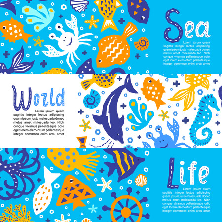 Cutout marine style kids design element paper flyers. Lettering titles Sea, World, Life. Vector funny cartoon doodle background of fish, shell, calmar, starfish, jellyfish, crab, dolphin Ilustração