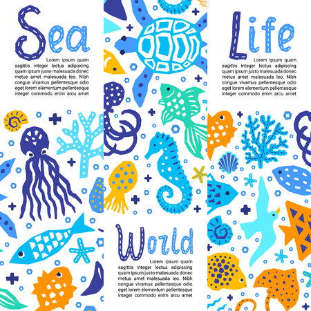 Cutout marine style kids design element paper flyers. Lettering titles Sea, World, Life. Vector funny cartoon doodle background of fish, octopus, gull, shell, calmar, starfish, jellyfish, guitarfish Banco de Imagens - 123515145