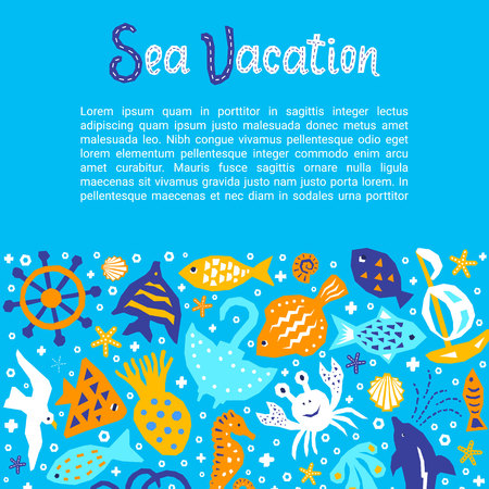 Cutout marine style kids design element paper flyer card with Sea Vacation lettering title. Vector funny cartoon doodle background of fish, gull, shell, crab, starfish, guitarfish Ilustração