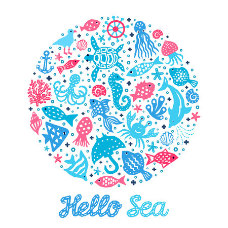 Paper cutout marine style kids design element set. Hello sea lettering inscription. Funny cartoon doodle background of fish, octopus, gull, shell, calmar, starfish, jellyfish, guitarfish illustration Ilustração