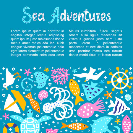 Cutout marine style kids design element paper flyer card Sea Adventures lettering title. Vector funny cartoon fish, octopus, gull, shell, calmar, starfish, jellyfish, guitarfish doodle background
