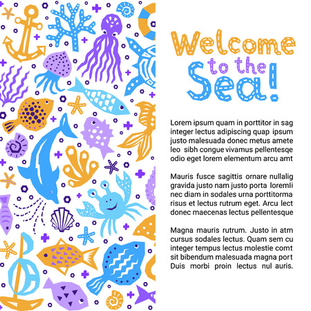 Cutout marine style kids design element paper flyer card. Lettering title. Vector funny cartoon doodle sea background of fish, shell, starfish, jellyfish, crab, boat, dolphin, octopus Ilustração