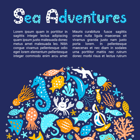 Cutout marine style kids design element paper flyer card. Lettering title Sea Adventures. Vector funny cartoon doodle fish, shell, calmar, crab; starfish, jellyfish, gull, octopus, dolphin background Ilustração