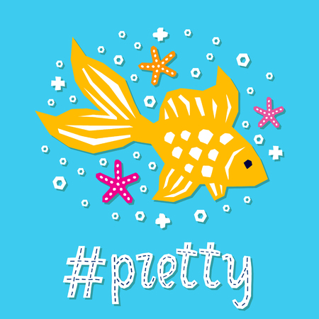Cutout marine style sea animal kids design element paper card. Lettering popular hashtag title pretty. Vector funny cartoon gold fish doodle background. Child graphic poster