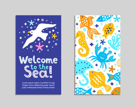 Cutout marine style animal kids design element paper flyer card. Lettering title Welcome to the Sea. Vector cartoon fish, gull, crab, guitarfish, seahorse doodle background. Child ocean graphic poster