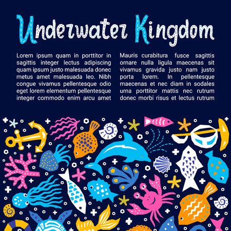Cutout marine style kids design element paper flyers. Lettering title Underwater Kingdom. Vector funny cartoon doodle background of fish, shell, calmar, starfish, jellyfish, crab, dolphin