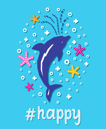 Cutout marine style sea animal kids design element paper card. Lettering popular hashtag title happy. Vector funny cartoon dolphin doodle background. Child graphic poster