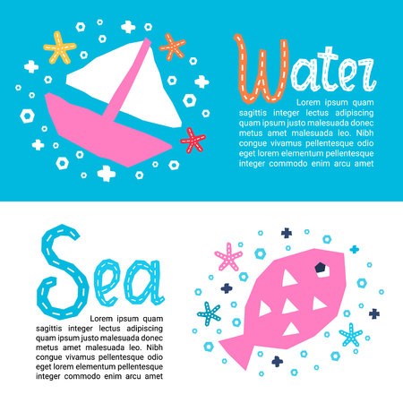 Cutout marine style kids design element paper flyers. Lettering titles Water, Sea. Vector EPS 10 funny cartoon doodle background of fish, boat, starfish