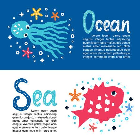 Volantini di carta con elemento di design per bambini in stile marino ritagliato. Titoli delle scritte Mare, Oceano. Vector Eps 10 divertente cartone animato doodle sfondo di pesci, polpi, stelle marine Vettoriali