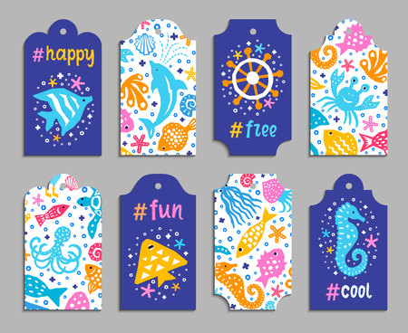 Paper cutout marine kids design element tags. Funny cartoon fish, octopus, shell, dolphin, starfish, jellyfish doodle vector illustration. Lettering popular hashtag title happy, free, fun, cool Illustration