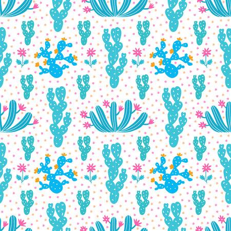 Succulent ornamental seamless pattern. Endless vegetal background. EPS 10 vector illustration. Ilustração