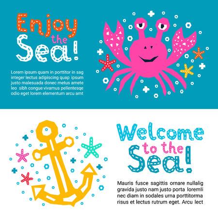 컷아웃 해양 스타일 어린이 디자인 요소 종이 전단지. 레터링 제목은 바다에 오신 것을 환영합니다. 게, 앵커, 불가사리의 벡터 EPS 10 재미있는 만화 낙서 배경