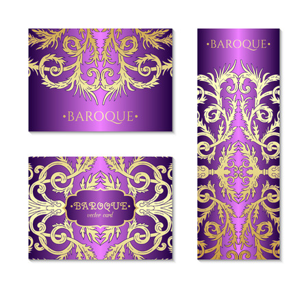French baroque style elegant ornate visiting cards. Luxurious fashionable ornamental flyer design. Vintage fancy ornament decoration. Pathetic retro embellishment.