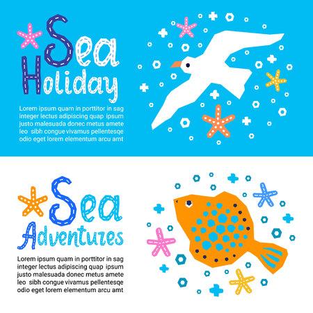 컷아웃 해양 스타일 어린이 디자인 요소 종이 전단지. 글자 제목 Sea Holiday, Adventures. 벡터 EPS 10 물고기, 불가사리, 갈매기의 재미있는 만화 낙서 배경