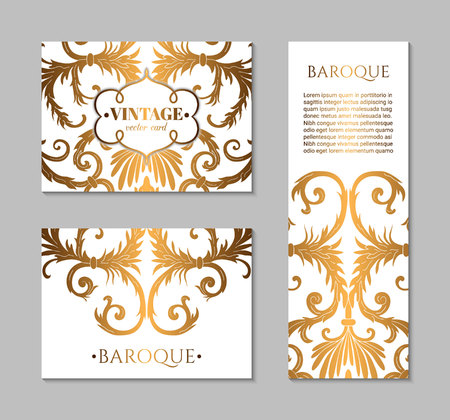 French baroque style elegant ornate visiting cards. Luxurious fashionable ornamental flyer design. Vintage fancy ornament decoration. Pathetic gold retro embellishment. EPS 10 vector brochure template