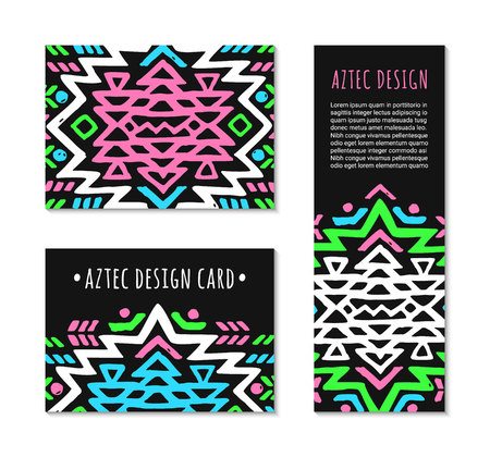Aztec style colorful card set. American indian pattern design. Ornamental collection with ethnic motifs. Tribal decorative flyer template.