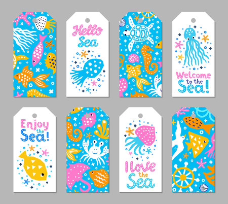 Paper cutout marine kids design element tags. Funny cartoon turtle, fish, octopus, shell, calmar, starfish, jellyfish doodle vector illustration. Lettering phrase I love, Enjoy, Hello, Welcome to sea Illustration