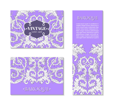 French baroque style elegant ornate visiting cards. Luxurious fashionable ornamental flyer design. Vintage fancy ornament decoration.