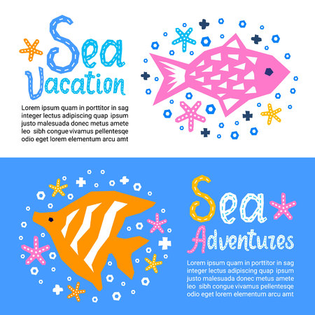 Cutout marine style kids design element paper flyers. Lettering titles Sea Vacation, Adventures. Vector EPS 10 funny cartoon doodle background of fish, starfish Illustration