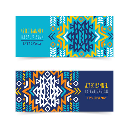 Bright colorful horizontal banner design template set with tribal aztec style ornament. Ethnic background collection. EPS 10 vector website header concept illustration. Clipping mask. Vector Illustration