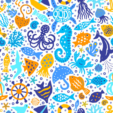 World of the sea paper cutout marine style kids design element seamless pattern. Funny cartoon fish, octopus, gull, shell, calmar, starfish, jellyfish, guitarfish vector background illustration Illustration