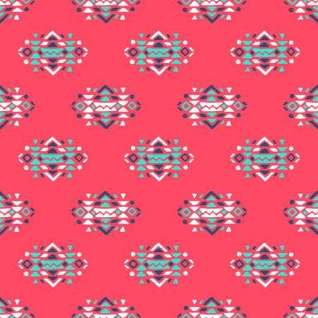 Aztec style seamless geometry pattern with tribal ornament. Ornamental ethnic background collection. Use for fabric prints, surface textures, cloth design, wrapping. Ilustração