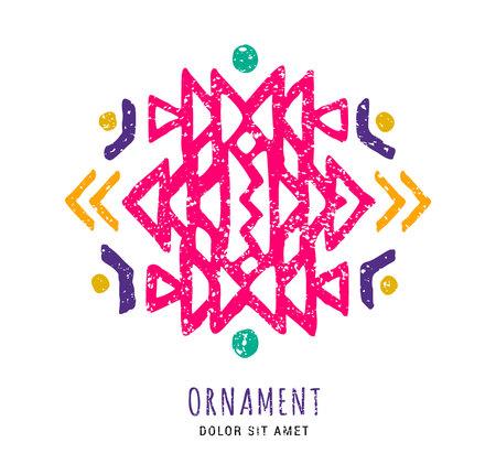 Colorful Aztec style hand-drawn geometric ornament. Indian ornate design. Tribal ornamental decorative template. Ethnic ornamentation. Grungy shabby chic hipster texture. Ilustração