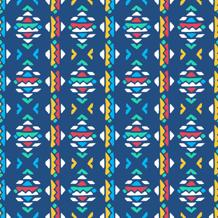 Aztec style seamless geometry pattern with tribal ornament. Ornamental ethnic background collection. Use for fabric prints, surface textures, cloth design, wrapping. EPS 10 vector illustration.