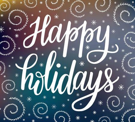 Inscripción de letras de Navidad felices fiestas. Elegante fondo adornado de invierno con patrones de nieve estilizados en el cristal de la ventana congelada.