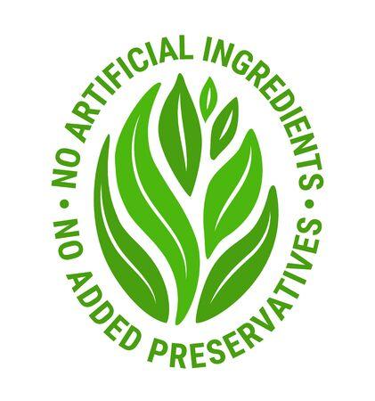 green leaf salad sticker.Healthy vegetarian,nature,detox,plant-based vegan weight loss food concept.No artificial ingredient,preservatives text inscription