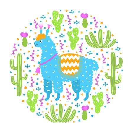 Ornamental design pattern. Cute hand drawn lama on the floral cactus background. Animalistic childish print for textile, paper, kids clothes and bed linen. EPS 10 vector colorful illustration