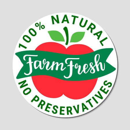 Healthy food green red sticker.