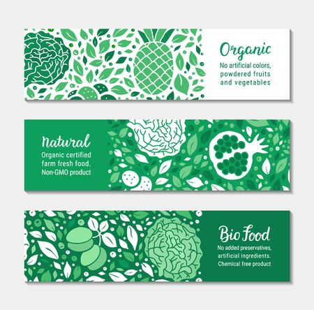 Ecology green fruit, vegetable banner set. Cabbage, garnet, plum, leaf, pineapple pattern. Organic, Natural, Bio food lettering text. Weight loss low calorie product background. EPS 10 vector backdrop Çizim