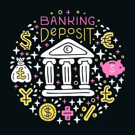 Banking deposit investing. Investment handdrawn doodle EPS 10 vector illustration. Lettering text inscription. Capital expenditure finance business commercial economics concept.