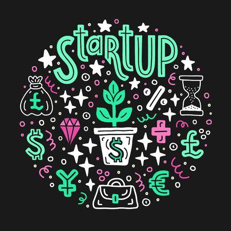 Start up investing. Business project investment handdrawn doodle circle background. EPS 10 vector illustration. Lettering text inscription. Capital expenditure finance economics concept.  Çizim