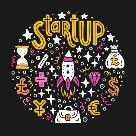 Start-up investing. Business project investment handdrawn doodle circle background. EPS 10 vector illustration. Lettering text inscription. Capital expenditure finance economics concept.  Çizim