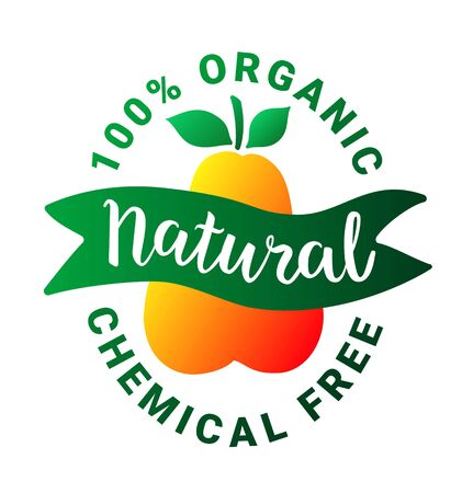 Healthy food green orange sticker.Natural lettering text.Vegetarian, vegan plant-based weight loss product concept.100 percent organic chemical free inscription