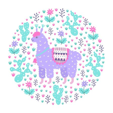 Ornamental design pattern. Cute hand drawn lama on the floral cactus background. Animalistic childish print for textile, paper, kids clothes and bed linen. EPS 10 vector colorful illustration Standard-Bild - 126010562