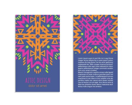 Aztec colorful hand-drawn ornamental card template. American indian leaflet design. Tribal decorative pattern. Ethnic ornate background. Vintage style flyer. EPS 10 vector brochure set. Standard-Bild - 126010563