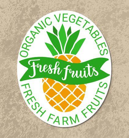 Healthy food green orange sticker.