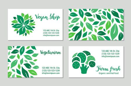Green visit cards with salad leaves and broccoli. Vegan shop, vegetarian, farm fresh lettering text. Colorful template collection. Plant-based concept. Illustration