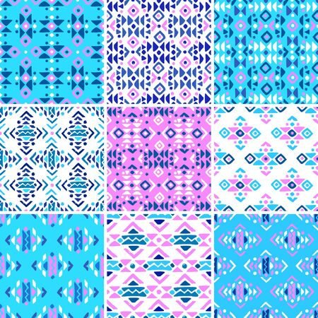 Aztec style seamless geometry pattern set with tribal ornament. Ornamental ethnic background collection. Use for fabric prints, surface textures, cloth design, wrapping. EPS 10 vector illustration. Standard-Bild - 126010567