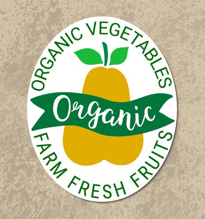 Healthy food green yellow sticker.Kraft paper grungy background,organic  lettering.